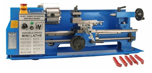 Erie-Tools-7-14-Precision-Bench-Top-Mini-Metal-Milling-Lathe-Variable-Speed-2500-RPM-Digital-Readout-with-5-pc-Cutter-Kit