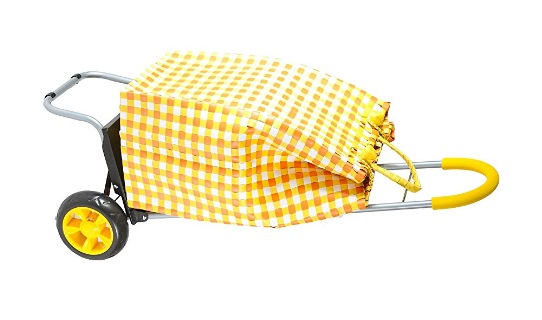 Trolley-Dolly-Basket-Weave-Tote-Yellow-Shopping-Grocery-Foldable-Cart-Picnic-Beach