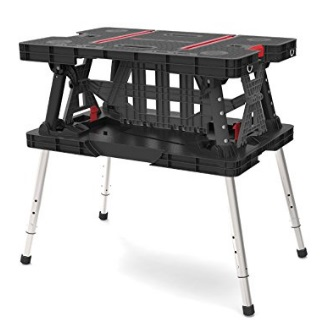 Keter-Folding-Compact-Adjustable-Workbench-Sawhorse-Work-Table-with-Clamps