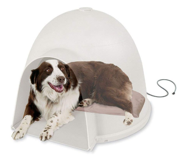 Lectro-Soft-Igloo-Style-Outdoor-Heated-Bed-Large-Tan