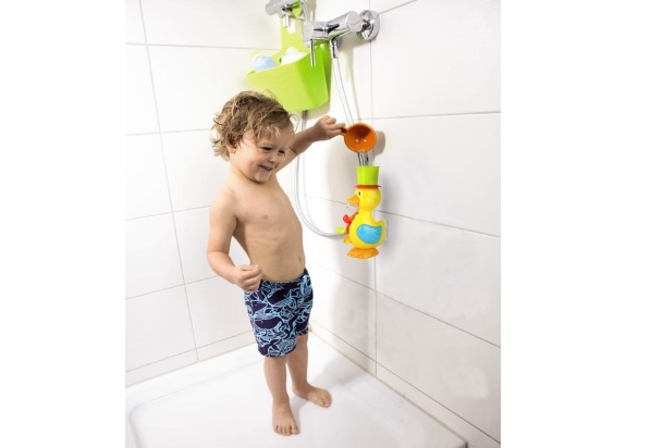 FUNERICA-Large-Yellow-Duck-Bath-Toy-for-Toddler-and-Baby-Super-Interactive-Bathtub-Water-Fun-Bonus-Floating-Fish