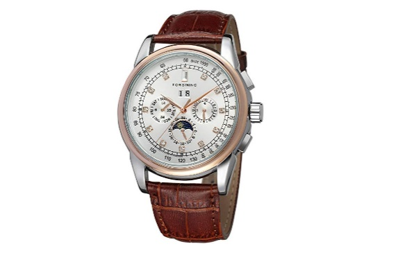 Forsining-Mens-Automatic-Self-winding-Moon-Phase-Watch-with-Brown-Leather-Strap-Analogue-Display-FSG319M3T4