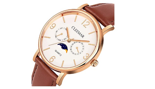 Men-and-Womens-Quartz-Watch-Cleemar-Classic-Fashion-Analog-Waterproof-Wrist-Watch-with-Date-Day-Moon-Phase-Leather-Strap-and-Stainless-Steel-Case-Brown