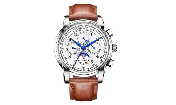 Mens-Automatic-Mechanical-Watch-Date-Moon-Phase-24-Hour-Indication-Calfskin-Leather-Transparent-Watches