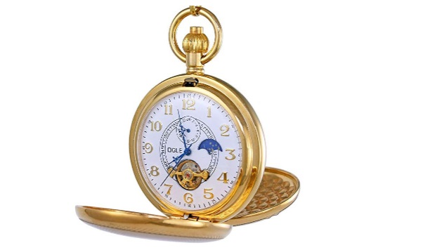 Ogle-Vintage-Copper-Double-Cover-Tourbillon-Phases-Moon-Chain-Fob-Self-Winding-Automatic-Mechanical-Pocket-Watch-Gold-Dial