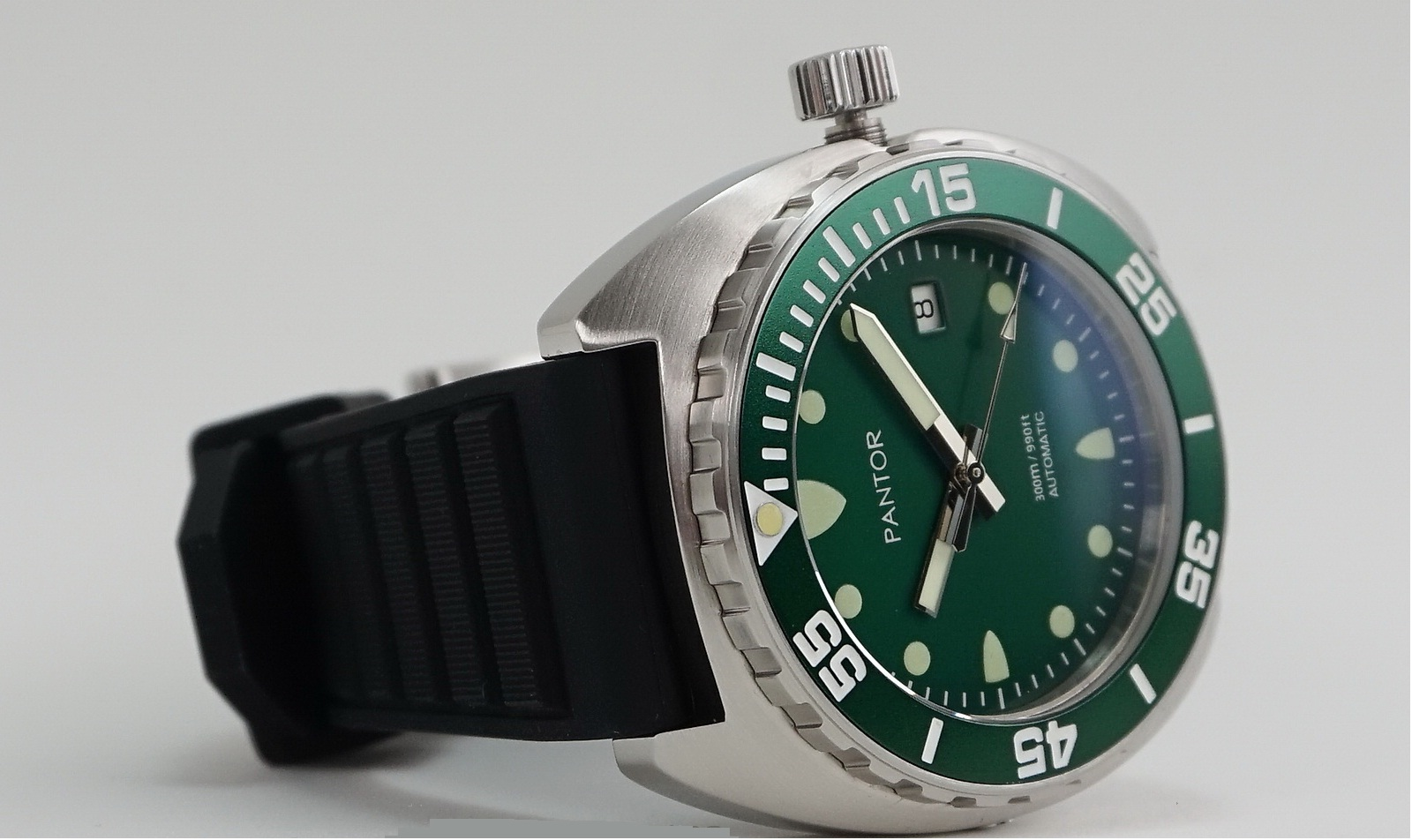 Pantor-Sealion-300m-Automatic-42mm-Pro-Dive-Watch-with-Helium-Valve-Rotating-Bezel-Sapphire-Green-dial-Stainless-Steel-Bracelet-Rubber-Strap-Sports-Watch