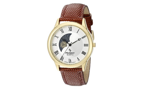 Peugeot-Mens-14K-Gold-Plated-Decorative-Sun-Moon-Phase-Roman-Numeral-Watch