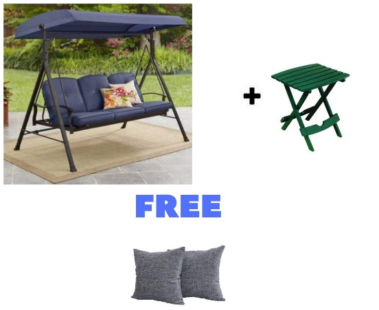 BLOSSOMZ-Outdoor-Porch-Swing-Deck-Weather-Resistant-Wrought-Iron-Metal-Frame-with-Cushion-Blue-with-Side-Table-and-Throw-Pillow