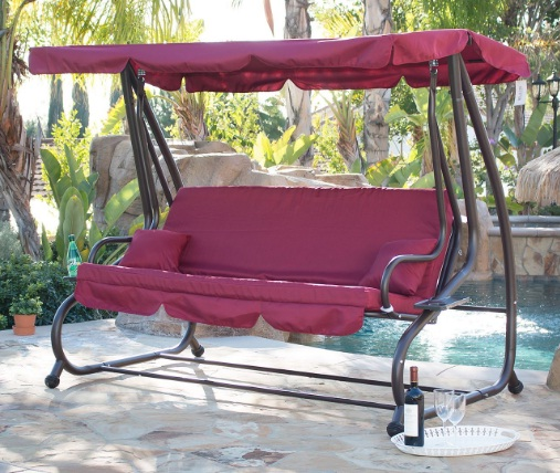 Belleze-Outdoor-Canopy-Swing-Motion-Gilder-Converting-Patio-Rocking-Chair-UV-Blocker-3-Seat-Flatbed-Cool-Seater-Burgundy