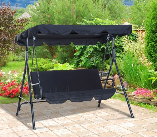 Outsunny-3-Person-Steel-Outdoor-Porch-Sling-Fabric-Swing-Canopy-with-Stand-Black