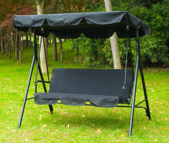 Outsunny-3-Person-Steel-Outdoor-Porch-Sling-Fabric-Swing-Canopy-with-Stand