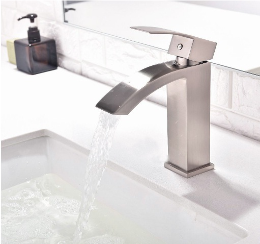 Friho Single Handle Waterfall Bathroom Vanity Sink Faucet with Extra Large Rectangular Spout