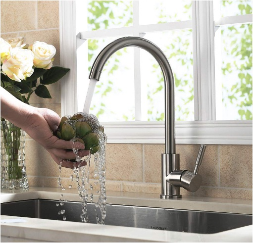 Modern Single Handle Brushed Steel Kitchen Sink Faucet