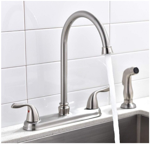 SHACO Brushed Nickel Two Handle Stainless Steel Kitchen Faucet With Sprayer