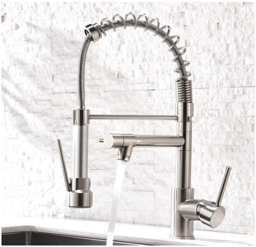 Single Handle Stainless Steel Kitchen Faucets with Pull Down Sprayer