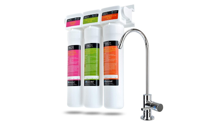 Three-Stage under Counter Water Filtration System with LED Faucet