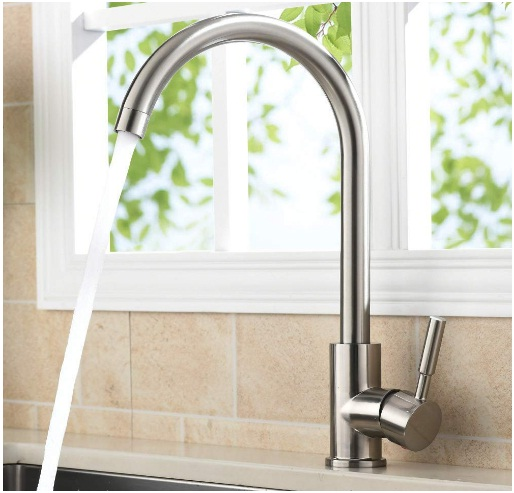 VAPSINT 360 Degree Swivel Good Valued Modern Hot& Cold Mixer Stainless Steel Single Handle Brushed Steel Kitchen Sink Faucet