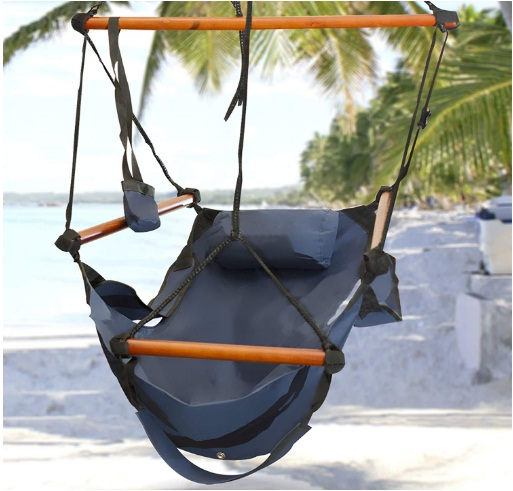 Hammock Hanging Chair Air Deluxe Outdoor Chair Solid Wood 250lb Blue