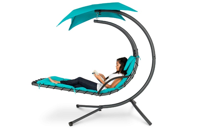 Outdoor Hanging Curved Chaise Lounge Chair Swing for Backyard