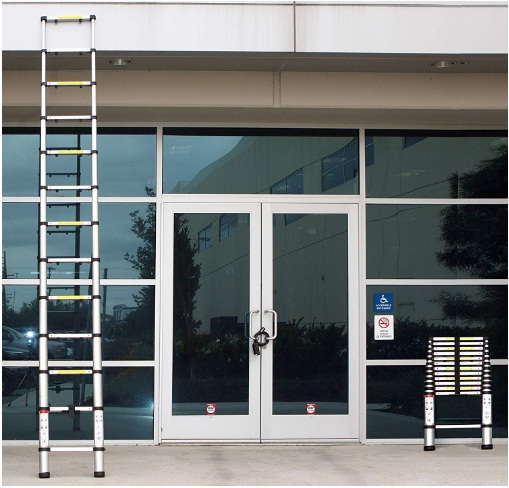 oxgord aluminum telescopic ladder 12.5 ft heavy duty