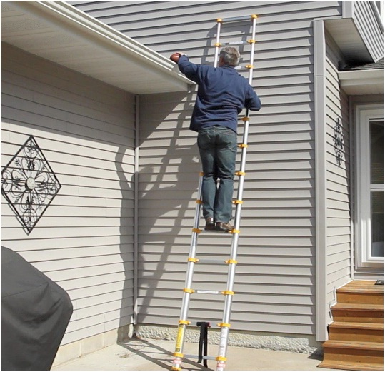 xtend & climb 770p telescoping-ladders 12.5 ft yellow and gray