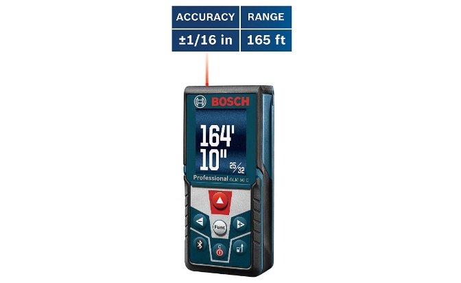 bosch glm 50 c bluetooth enabled laser distance measure with color backlit display