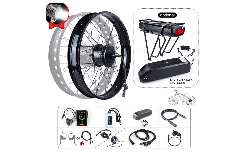 BAFAGN 48V 750W Ebike Conversion Kit for All Kinds of Bikes Rear Wheel Brushless Hub Motor Fat Tire Electric Bicycle Conversion Kit with LCD Display and Battery