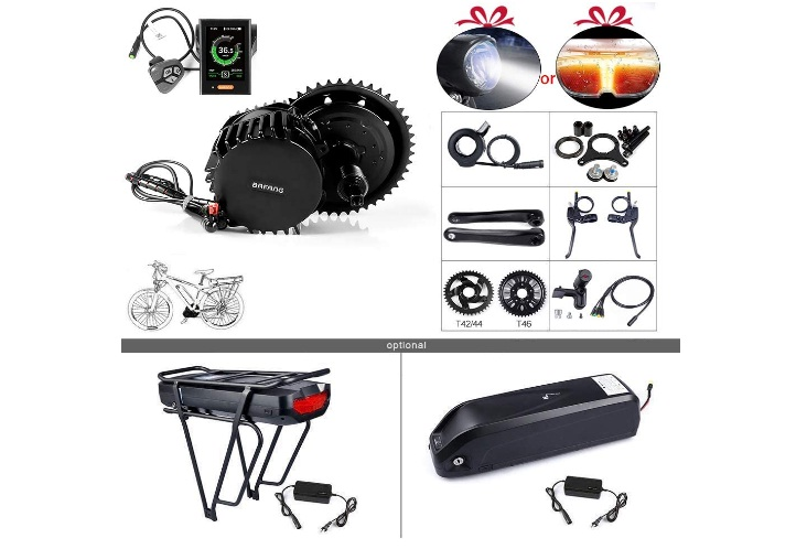 BAFANG BBSHD BBS03 48-52V 1000W Mid Motor Ebike Conversion Kit with Large Capacity Lithium Battery and Charger DIY Electric Bike Motor Kit